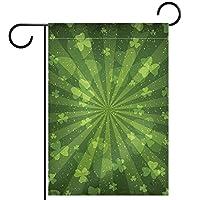 ガーデンヤードフラッグ両面 /12x18inch/ ポリエステルウェルカムハウス旗バナー,クローバーの葉
