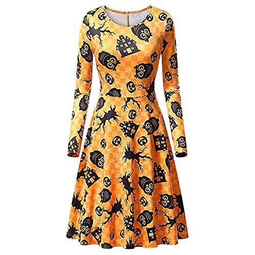 Zolimx Halloween Dress, Lanterna di Zucca di Halloween/Abito da Festa con Cuciture a Maniche Lunghe con Stampa Teschio(Oro,S)