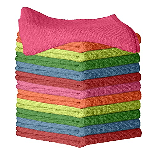 """Improvia 12 Pack Microfiber Cleaning Cloth - Ultra-Soft, Highly Absorbent, Lint-Free, Streak-Free, and Reusable Wash Towels for House Kitchen, Car, Window and Screen - Colorful - 12"""" x 12"""""""