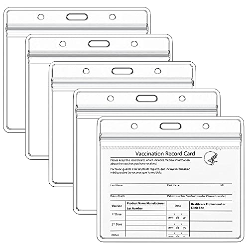 """Teskyer 5 Pack CDC Vaccination Card Protector, 4 X 3"""" Immunization Record Vaccine Card Holder, Plastic Clear ID Card Holder Name Tags Badge Holders"""