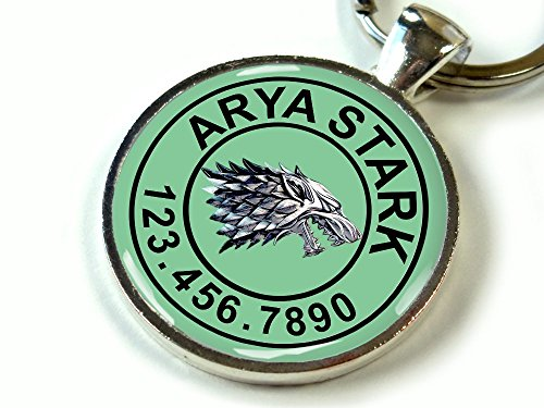 "Custom pet ID Tag Dog cat pet tag Game of Thrones Aqua Stark Wolf SGL (Large 1.5"")"