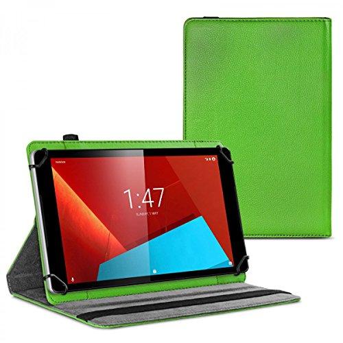 eFabrik Schutzhülle für Vodafone Tab Prime 6 & Prime 7 Hülle grün Cover Hülle Schutztasche Etui Tasche mit 360 Grad Rotation Drehung Aufstellfunktion Leder-Optik