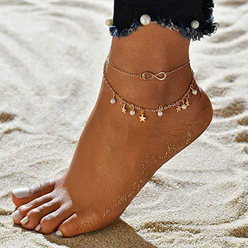 XKMY Pulsera tobillera para mujer, estilo dorado, plateado, estilo de moda, en la pierna, joyería de verano de 2021, para pies de playa (color metálico: color 5)
