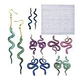 Yalulu - Pendientes con forma de serpiente de silicona, forma de resina epoxi, joyas artesanales,...