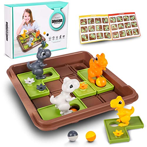 Logik Spiele Kinder Dinosaurier Logikspiele Brettspiel mit 60 Herausforderungen Pädagogisches Spielzeug Lernspiel Geschenk für Kinder Jungen Mädchen 3 4 5 6 7 Jahre