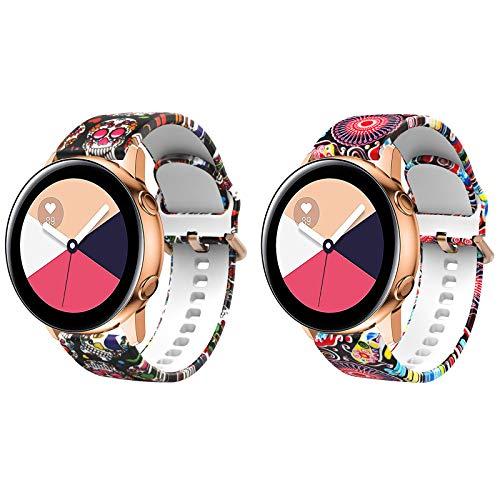 TiMOVO Bandaj para Samsung Galaxy Watch 3 41mm, [2 PZS] Banda Estampada Elegante, Correa de Silicona paraGalaxy Watch Active/Active 2/Galaxy Watch 42mm/Vivoactive 3, Medusa & Calavera Colorida