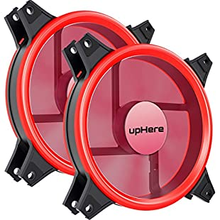 upHere 120mm Red Silent Fan for Computer Cases, CPU Coolers, and Radiators Ultra Quiet High Airflow Computer Case Fan, 3-Pin Two Pack