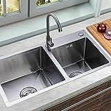 Fregadero de cocina 3 en 1, de acero inoxidable, con escurridor y escurridor, fregadero doble, 780 x 430 x 210 mm