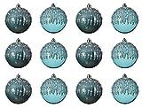 Decoris Bolas de Navidad de plástico, 8 cm x 12 unidades, irrompibles, color turquesa...