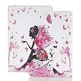 Hülle für PC Tablette Universal 10 Zoll (9.5-10.5 Zoll) - Tasche Leder Flip Hülle Etui Schutzhülle Cover für 9.6 9.7 10.1 10.2 10.4 10.5 Tablet, Weibliche Elfe