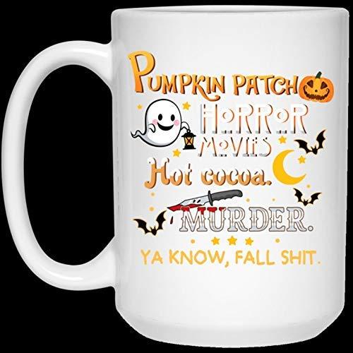N\A Divertida Taza de café de Navidad de Halloween Pump-Kin Patch Películas de Terror Hot Coco-a Murder Fall Shit Taza de café de Halloween