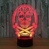 3D crâne Lampe Illusion d'optique Veilleuse, 7 couleurs Bureau Décoration de table Lampes cadeau de Noël parfait avec