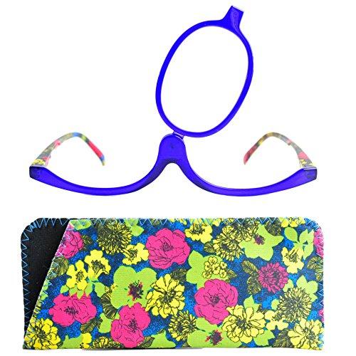 Make-Up Schminkbrille mit klappbaren Brillenglas, Modische Schminkhilfe mit GRATIS Brillenetui +2.5 Dioptrien (Blau)