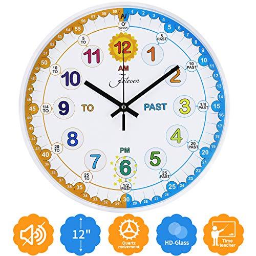 Jeteven Kinder Wanduhr, Non-Ticking Silent Quartz Dekorative Uhren Bunte runde Wanduhr für Kinder Lesen Sie die Zeit Lernen, Kinderzimmer Spielzimmer Schlafzimmer