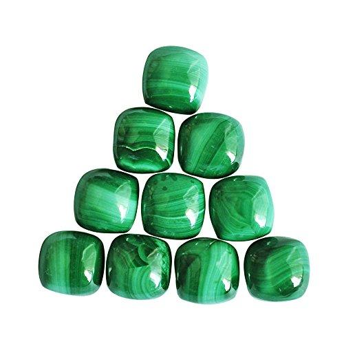 Lot de 5 cabochons en malachite verte naturelle 11 x 11 mm, pierre précieuse pour la fabrication de bijoux.