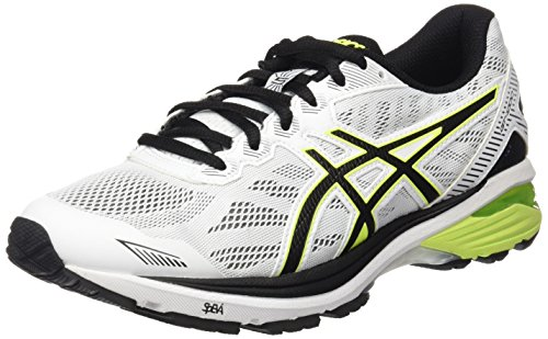 ASICS Gt-1000 5, Chaussures de Running Homme, Blanc Cassé (White/Safety Yellow/Black), 42.5 EU