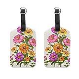 Juego de 2 etiquetas de equipaje de primavera con diseño de flores y flores, para mujeres, hombres y niños, con hebilla de piel
