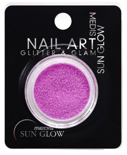 Medis Sun Glow Art Glitter & Glam Poudre scintillante pour ongles Aspect néon violet Pack de 4 (4 x 1 pièce)