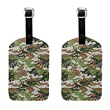 Green Digital Camo Tactical Luggage Tags Full Back Privacy Cover Name ID Labels Set For Trave Bag Tag For Suitcase 2 Piece