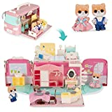 Best Choice Products Camper Van Playset Pretend Play Portable Dollhouse Toy Gift Set with 54 Accessories and Tiny Critters for Kids