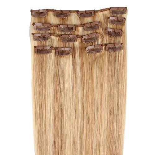 Beauty7 Extension de Cheveux Humain 7 Clips Raides/Droits/Lisse 100% Remy Hair - Longueur 20 Inch (50 cm) - Poids 70 grams/Couleur Blond Dore et Blond