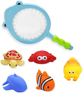 PIETFIU Baby Bath Toys with 5PCs Soft Cute Ocean Animals and Fishing Net,Toddlers 1-3 Years Old as Preschool Bath Toys,Water Toys as Birthday Gifts for Boys & Girls