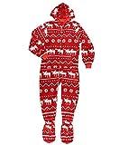 LazyOne Hoodeez, Adult One-Piece Foot Pajamas, Sleep Suit with Zipper and Hood, Nordic Patterns (Nordic Moose, Medium)