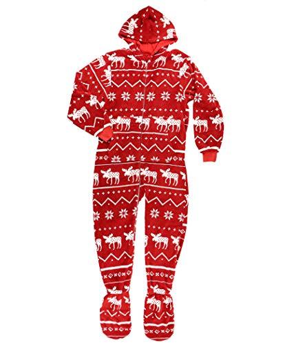 LazyOne Hoodeez, Adult One-Piece Foot Pajamas, Sleep Suit with Zipper and Hood, Nordic Patterns, Fair Isle, Onesie, Hoodie, Winter (Nordic Moose, Large)
