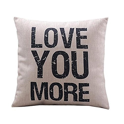 "LuckyGirls Kissenbezug 45 x 45 cm ""Love you more ""Baumwolle Leinen kissenhülle Car Bett Sofa Taille Wurf Kopfkissenbezug Pillow Cover"