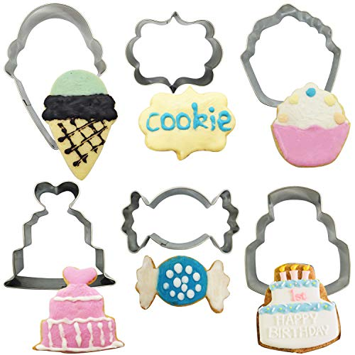 Cookie Cutter Set for Kids, 6 Pieces Stainless Steel Metal Cookie Cutters Shapes Molds for Making Ice Cream Cone, Cupcake, Love Cake, Three-layer Cake and Candy