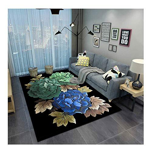JINQI Alfombras De Área Oriental 3D Alfombra De Pelo Corto De Microfibra De Poliéster Alfombras Acústicas Antideslizantes con Patrón De Flores De Colores para Dormitorios Sala De Estar 180 × 240cm