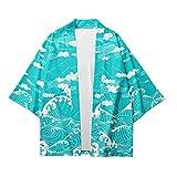 Haori Kimono Cárdigan para Hombres,Bata Yukata De Estilo Japonés Camisa Mujer Gran Tamaño Chaqueta Suelta Interior Kimono Pareja Unisex,Blue-3XL