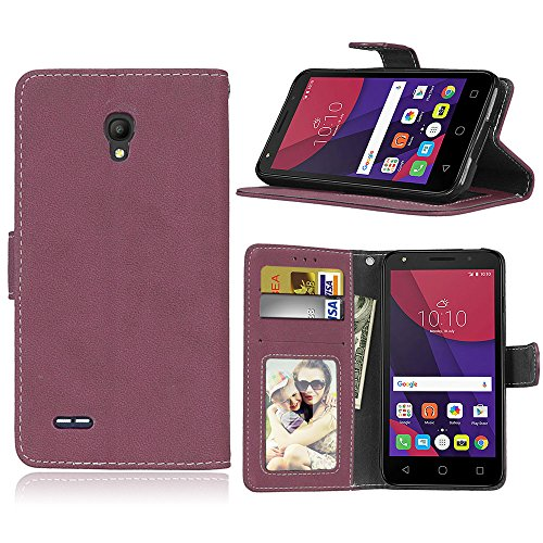 SATURCASE Alcatel One Touch Go Play/Conquest Hülle, Retro Mattiert PU Leder Magnetverschluss Brieftasche Standfunktion Schutzhülle Handy Tasche Hülle für Alcatel One Touch Go Play/Conquest (Rose)