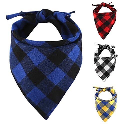 CHUKCHI - Pañuelos Ajustables para Perro (4 Unidades), diseño de Cuadros, pañuelos de algodón Reversible con Cuerda, Apto para Perros pequeños, medianos y Grandes, Cachorros