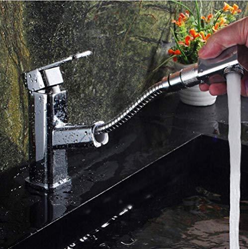 qx Grifo para Lavabo Grifo para Lavabo de Baño Grifo para Fregadero de Cocina Grifo para Lavabo de Latón con Forma Cuadrada de Alta Calidad Grifo para Lavabo Grifo de Agua para Baño con Caño Extensib