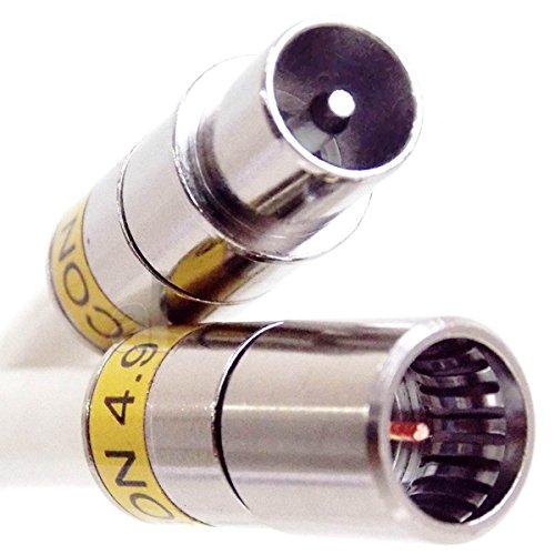 7,5 m Anschlusskabel IECM auf F-Quick, u. a. passend für Horizon-Box, mit Cabelcon Steckern, 3-Fach geschirmtem Kabel, PVC weiß, Class A+, 115 dB