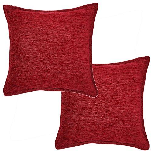McAlister Textiles Plain Chenille   2er Packung Zierkissen mit Füllung 40 x 40cm in Rot   Deko Kissen für Sofa, Couch, Bett