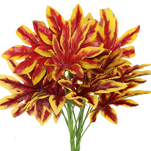 HUAEISN Ramo de Flores Artificiales Exterior e Interior Hojas de Otoño Decoracion Rojas Flores de Plastico Arbusto Artificial Decorativa Planta Falsa para Jarrones Valla Hogar Cocina Jardin Balcon