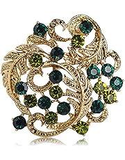 QSCVHU New EST Spilla a Forma di Fiore Rotondo Cristallo Verde Oro Spille a Colori Gioielli per Le Donne Suit Coat Scarf Pins Up Accessori