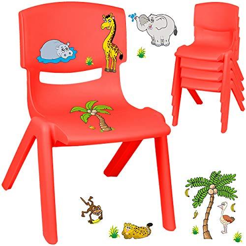alles-meine.de GmbH Kinderstuhl / Stuhl - Motivwahl - rot + Sticker - Zootiere & Giraffe - inkl. Name - Plastik - bis 100 kg belastbar / kippsicher - für INNEN & AUßEN - 0 - 99 J..