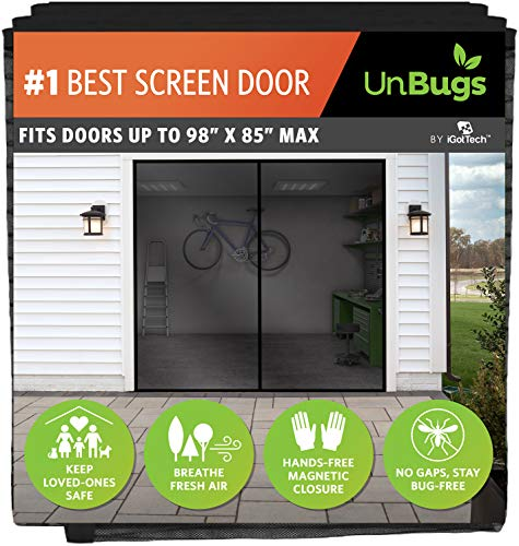 UnBugs Garage Screen Doors for 1 Car Garage - Heavy Duty Self-Seal Keeps Bugs Out; Breeze in - Hands Free, Pet & Kid Friendly-Screen Fits Single Garage Door Opening up to 8 Feet Wide x 7 Feet Tall