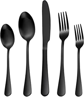 Matte Black Silverware Set, RENVIRTUE 20-Piece Stainless Steel Cutlery Set Service for 4 spoon fork knife combo, Dishwashe...