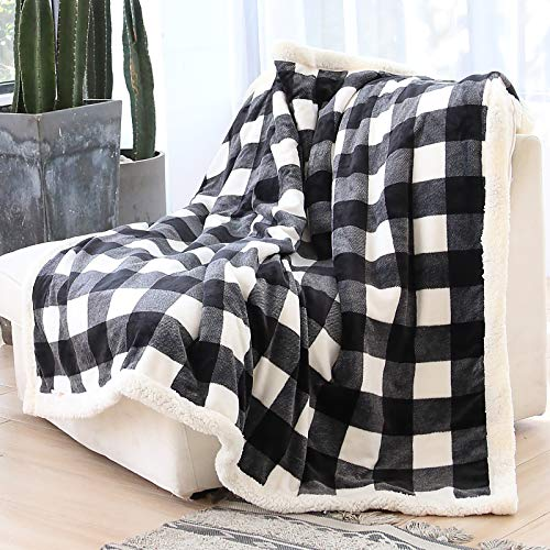 Syntus Buffalo Plaid Sherpa Throw Blanket, 50 x 60 inches Soft Flannel Fleece Checker Plaid Pattern Decorative Blankets for Couch, Bed, Sofa, Black & White