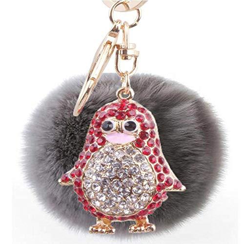 LYXin Sleutelhanger Leuke Auto Decoratie Sleutelhanger Haar Bal Inlay Diamant Pinguïn Sleutelhanger Tas Mobiele Telefoon Hanger Sleutelhangers