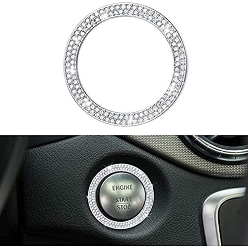 YFBB Tapas de botón de Encendido Crystal Bling Engine Start Stop, para Mercedes Benz W205 C117 X156 X253 C CLA GLA GLC Class Covers Calcomanías Decoración de Interiores