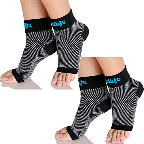 Dowellife Plantar Fasciitis Socks, Ankle Brace Compression Support Sleeves & Arch Support, Foot Compression Sleeves, Ease Swelling, Achilles Tendonitis, Heel Spur for Men Women (Black 2 Pairs, Medium)