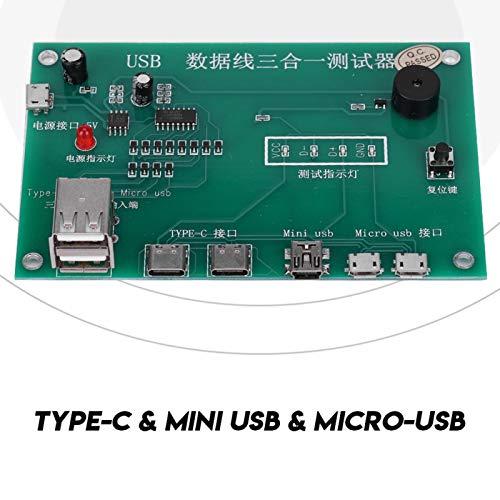 Veloraa Probador de tríada de Cable USB, probador de Circuito Dispositivo de Prueba de Cable de Datos Probador de Cable USB para Prueba de Circuito para Cortocircuito de Circuito Abierto