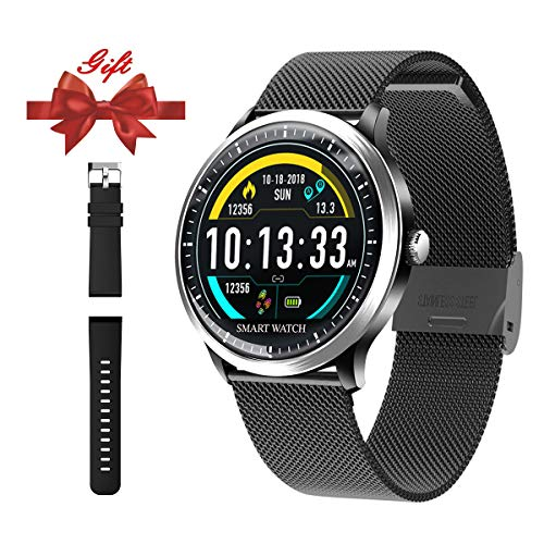Smart Watch for Android iOS Phone-Fitness Tracker Wrist Watch with Heart Rate Sleep Monitor Step Counter Bluetooth Color Screen Smart Watch for Men Women Kids Running, Hiking and Climbing (Black)