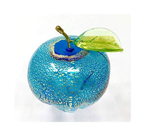 Murano Glass Light Blue Apple Figurine, Hand Made in Italy