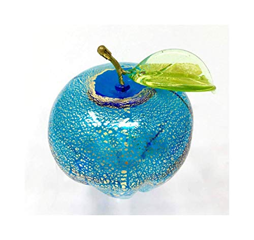 Murano Glass Light Blue Apple Figurine, Hand Made in Italy